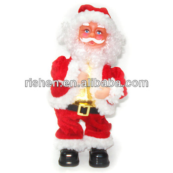 2015 christmas decorations singing and dancing christmas musical doll toy santa claus twists on bottom fabric