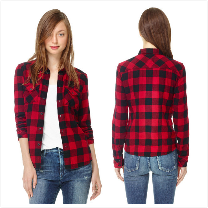 6a52d59e Get Quotations · Spring Autumn 2014 Flannel Long Sleeve Lapel Collar Red & Black  Plaid Womens Blouse Shirt Tops