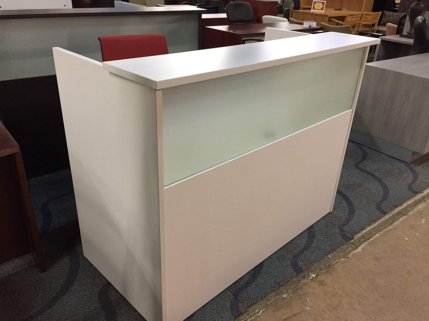 """DFS Reception desk shell which fits a 15"""" monitor - 60"""" W by 30"""" D by 44"""" H White W/ frosted glass front by DFS Designs"""