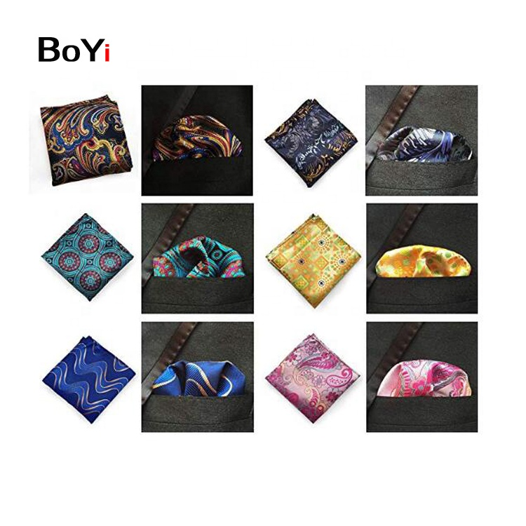 Fashion Mens Custom Paisly Print Polyester Pocket Square Printed Handkerchief