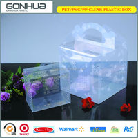 2014 China popular new transparent custom beauty bottom plastic square clear box with handle for gift
