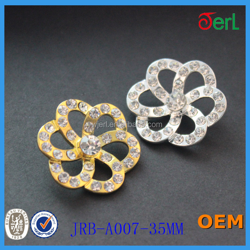 Sew On Floral Metallic Rhinestone Shank Button For Women Dress