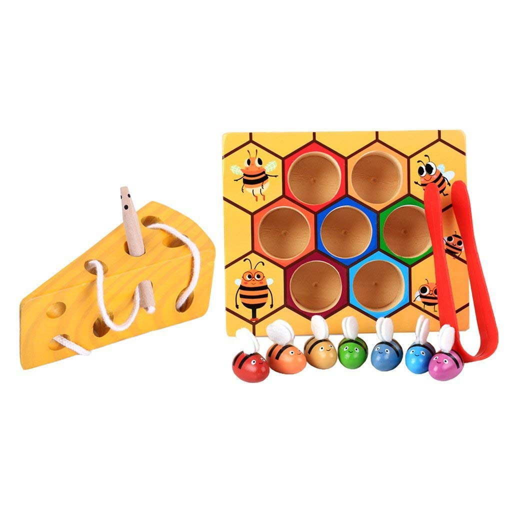 Baoblaze Montessori Materials Wooden Educational Toy for Kids Boys Girls - Bee Box & Cheese Maze