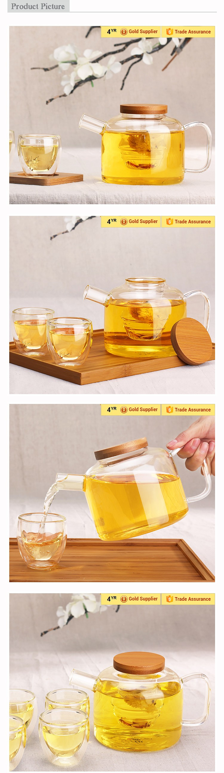 Wholesale RELEA Handmade Bamboo Lid glass tea pot with tap in hot ...