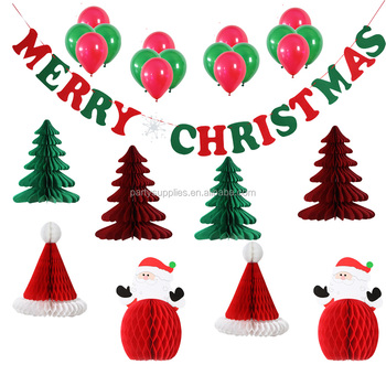 Christmas Decor Kit Paper Honeycomb Christmas Tree Ball, Hat, Santa Claus  Decorations and Party - Christmas Decor Kit Paper Honeycomb Christmas Tree Ball, Hat, Santa