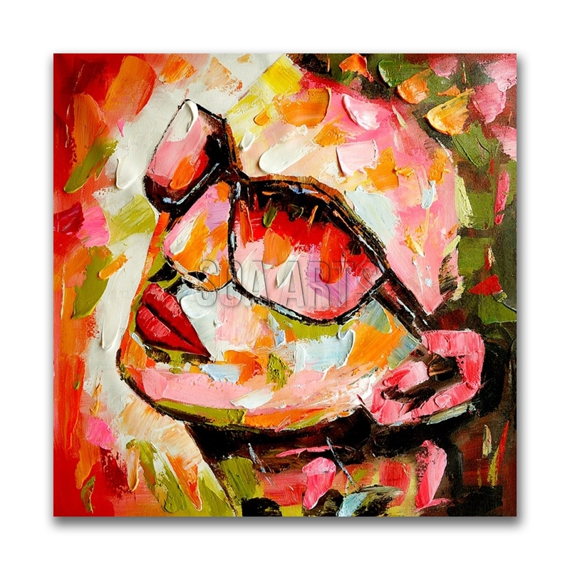 Handmade Modern Abstract Colorful Portrait Oil Painting from Photo