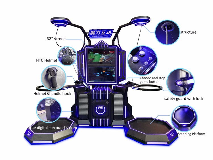 VART 9D VR Standing Interactive Shooting Simulator Game Large Space Vr Platform Price with Sport Games