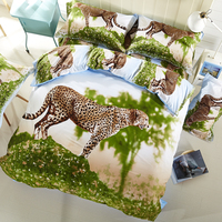 3D High definition printing Bedding set/Bed sheet/Quilt duvet cover/Yellow Leopard