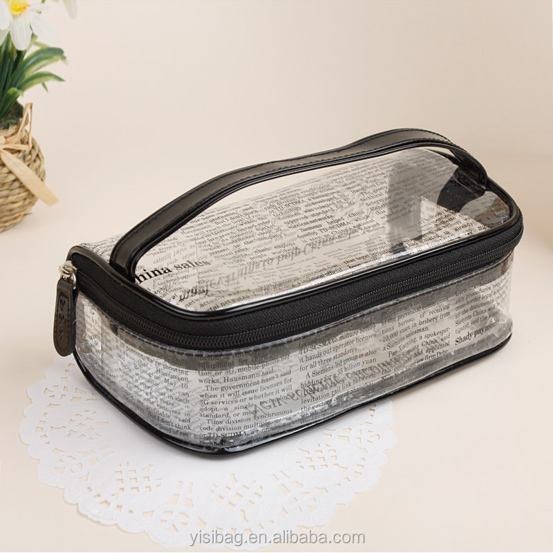 fashional news paper clear plastic clutch bag