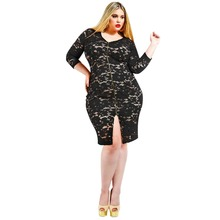 wholesale black long sleeve v neck bodycon mini sexy lace dress