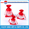Organza gift bag draw string with lace high quality wedding pouch