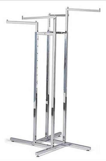 retail store chrome 4 way clothing display rack with straight arms HSX-2795