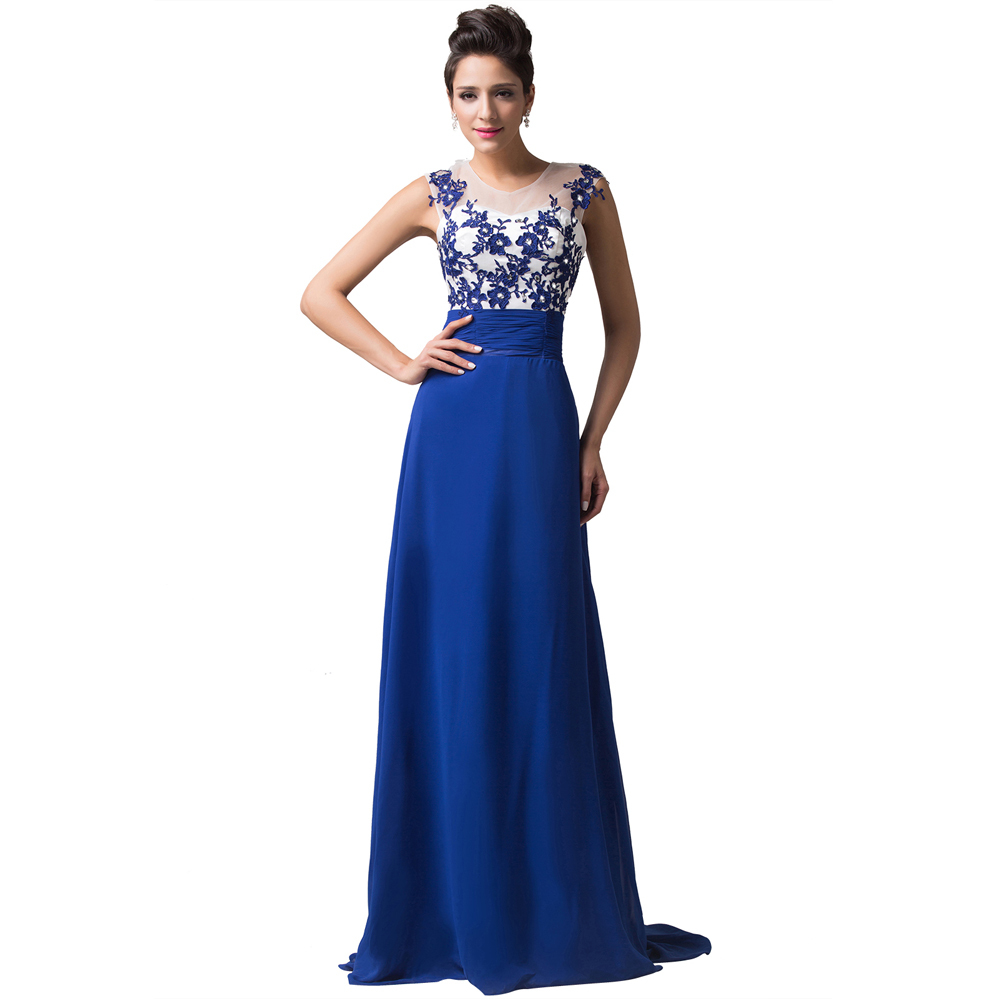 Summer Women Lace Embroidery Chiffon Backless Evening Gown ...