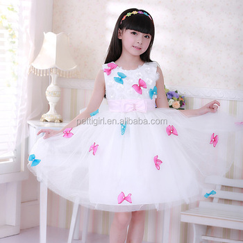 2016 Newest Girls Wedding Dresses Bows White Princess Kids Dress