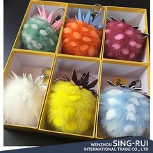 Rex Rabbit Mix Fox Fur Pompon Pom Pom