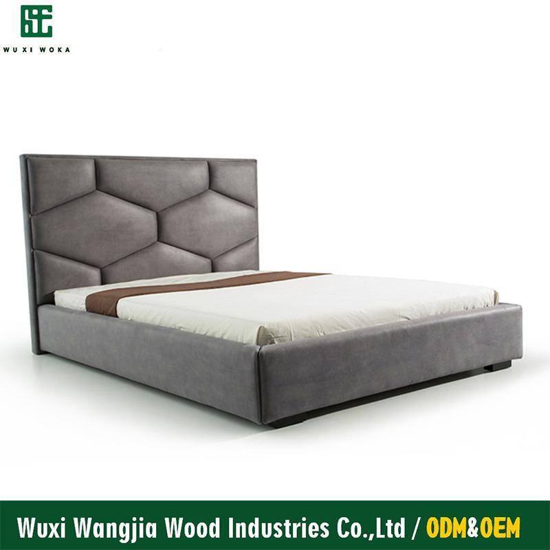 Dormitorio moderno tufted cabecera gris nueva microfibra cama ...