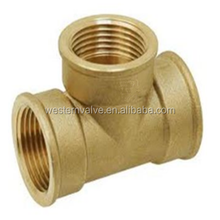Brass pipe fitting tee fitting with sand polished