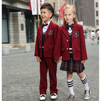 custom england style primary school uniform kids red blazer grid skirt and pant school uniform. Black Bedroom Furniture Sets. Home Design Ideas