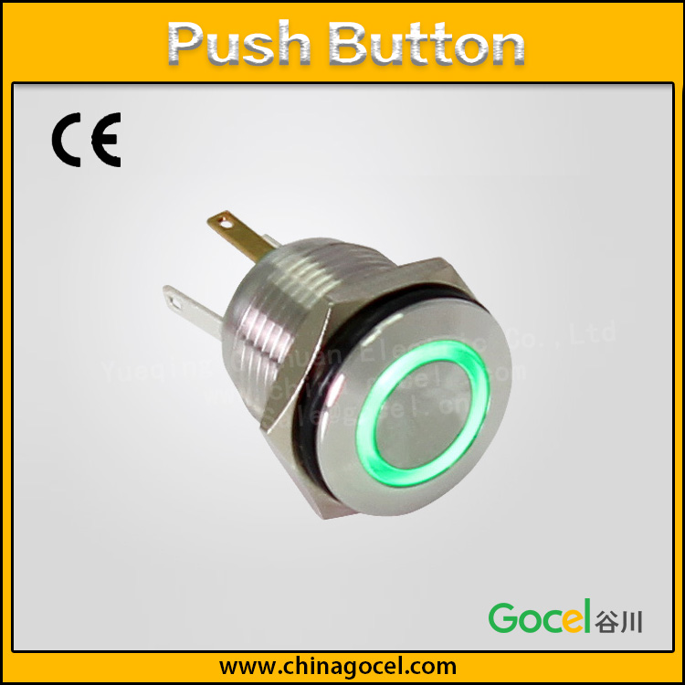 16mm green led ring light 4 pins normally open push button <strong>switch</strong> GQ16F-10E/J/S