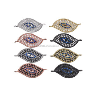 Eye Shape Brass Micro Pave CZ Cubic Zircon Jewelry Pendant Connector For DIY Jewellery Making