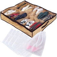 Under Bed Shoe Organizer for Kids and Adults (12 Pairs ) With Bonus 5 Packets for Shoes Underbed Shoes Rolling Closet Storage