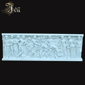 Hand carving white marble wall relief sculpture