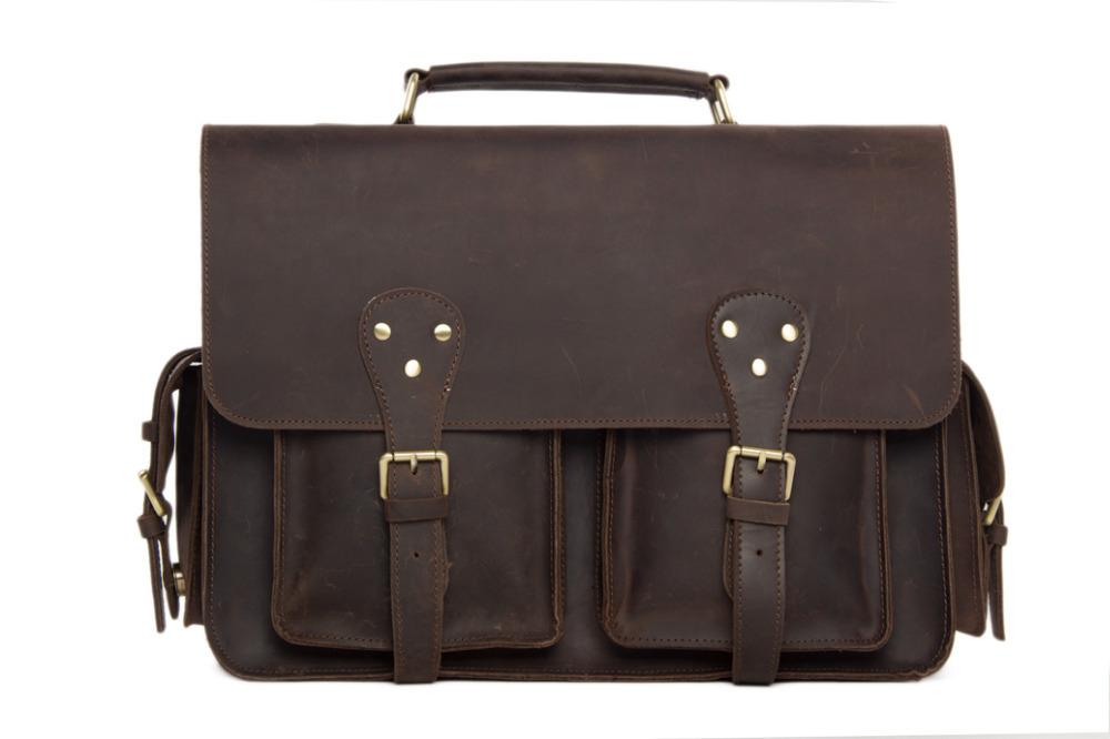 Get Quotations Vintage Leather Briefcase Genuine Bag Business Shoulder Men S Handbag 7145