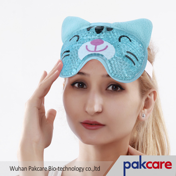 free sample gel eye mask ice pack cat gray animal shape gel bead eye mask