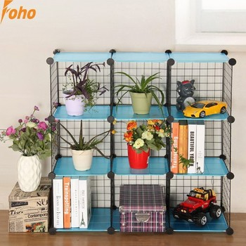 6 Cubes Metal Wire Closet Shelves Assebled By Plastic Panel And ...