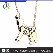 "JTBC1037 Yiwu Huilin Jewelry Fashion wolf's animal shape lettering ""Mama Wolf"" pendant necklace Mom's gift"