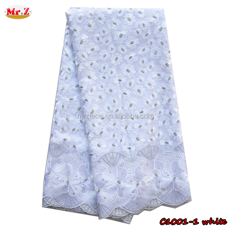 Mr.Z White Cotton Lace Embroidery Fabric With Stones For Man C1001