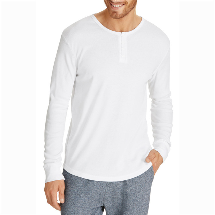 Simple design long sleeve white placket tee shirts