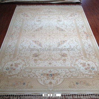 7x10ft Hand Knotted Carpet Wool And Silk India Woven Flat Rugs