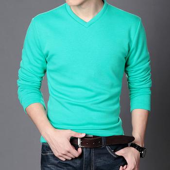 One Color T Shirt Design | Free Sample Mens Long Sleeve V Neck Blank Solid Color T Shirt