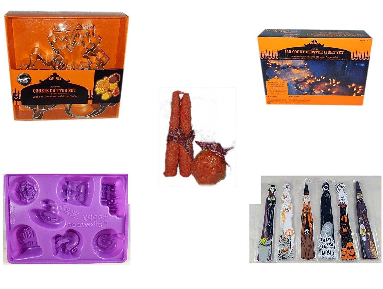Halloween Fun Gift Bundle [5 piece] - Wilton Autumn 8-Piece Cookie Cutter Set - 150 Count Cluster Orange Light Set - Autumn Orange-spice Candles Set of 3 - Happy Halloween Jell-O Mold - Halloween Wo