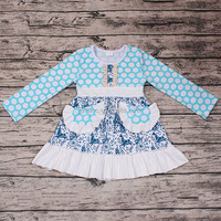 New Cute Style Little Girls Long Sleeve Smocked Tutu Dress Kids Boutique Clothing Outfits Flower Children Wholesale Party Dress