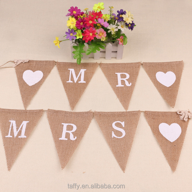 2017 NEW weding party decor VINTAGE shabby CHIC HESSIAN BURLAP RUSTIC WEDDING BANNER BUNTING garland Mr Mrs