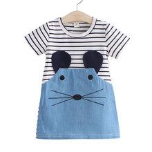 2016 New 2-7Y summer children's dresses casual striped girls a-line dresses fashion short sleeve T-shirt dresses for kids girls