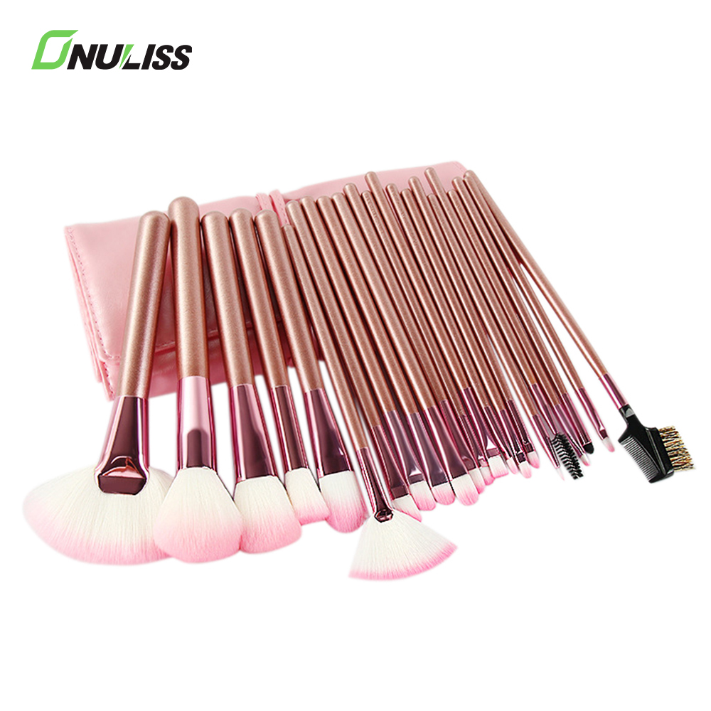 China Makeup Cheap Professional 0.06mm Synthetic Hair Rose Gold Makeup Brushes