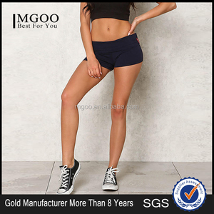MGOO 2017 New Style Navy Yoga Stretch Shorts Sweat-Wicking Fabric 100% Cotton 250g Lined Inseam Crossfit Shorts