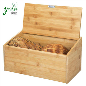Large Capacity Storage Natural Bamboo Wood Bread Box Bin with Hinged Lid for Kitchen Counter Top