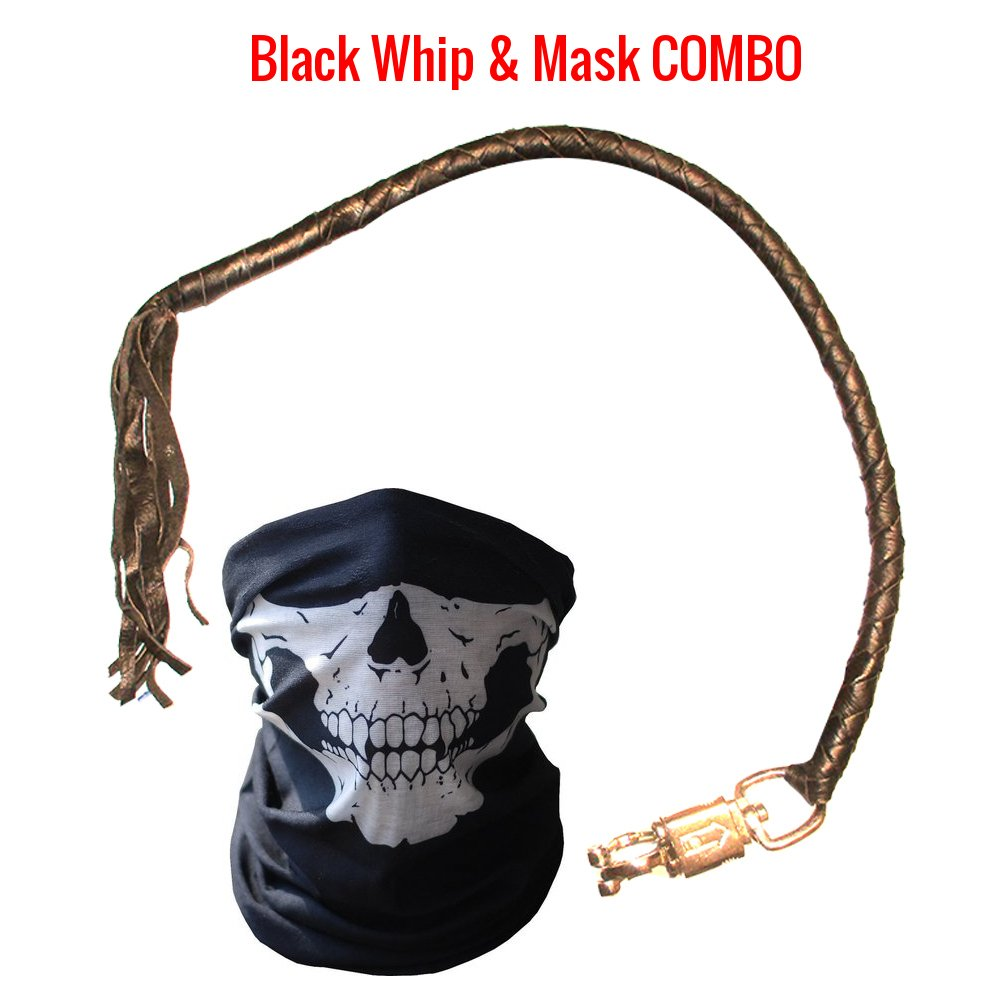 Premium Dealer Quality Real Cowhide Leather Biker 36 Inch Handlebar Whips and Half Skull Face Tubular Mask Black Get Back Whip Motorcycle Heavy Duty Quick Release Lever Attachment