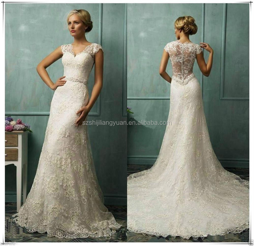 SJ1616 new style white v-neck Fashion floor length 2014 A-line lace wedding dress