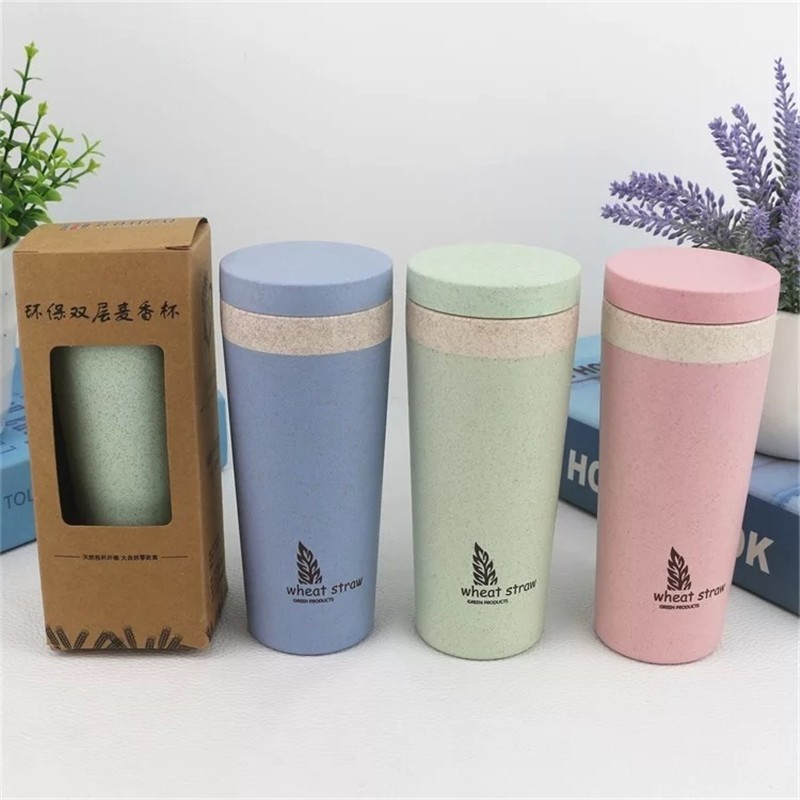 Reusable Wheat Straw Double Wall Empty Plastic Shaker Water Bottles Prices