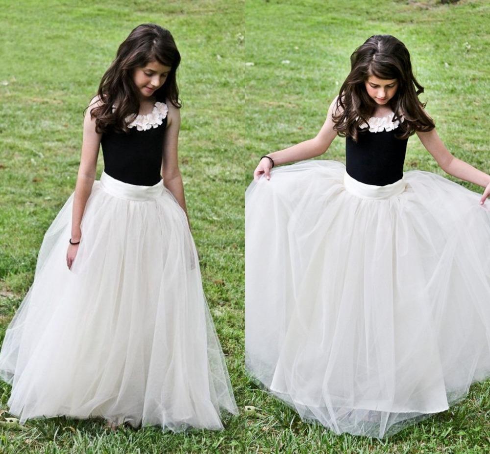 white dresses and Black flower girl