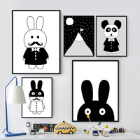 Modern Minimalist Nordic Black White Kawaii Animals A4 Large Art Prints Poster Kids Room Home Decor Wall Picture Canvas Painting