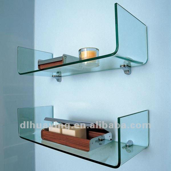 trasparente temperato bagno mensola di vetro curvo