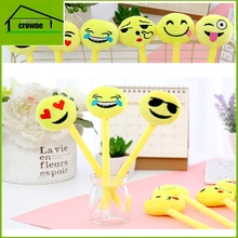 Fluffy facial emotions crown ball pen