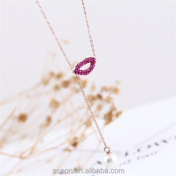 Yiwu Aceon Online shop china jewelry agent stainless steel full stone amethyst lips necklace