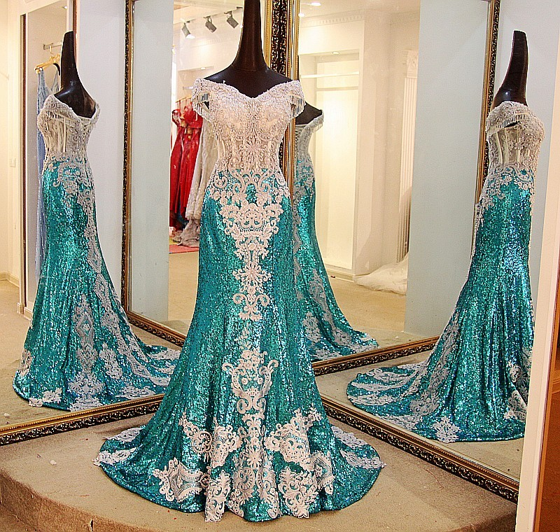 Ls07732 Real Sparkly Mermaid Beaded Fantasy Prom Dress For Pregnant ...